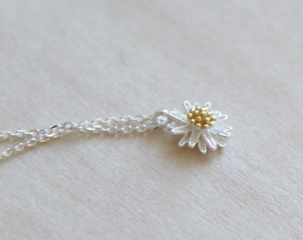 Sterling Silver chrysanthemum flower necklace