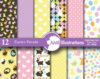 Easter paper, easter bunny paper, scrapbook, chocolate bunny, easter eggs,  commercial use, AMB-390