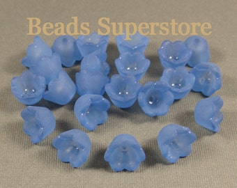 10 mm x 6 mm Royal Blue Lucite Flower Bead - 20 pcs