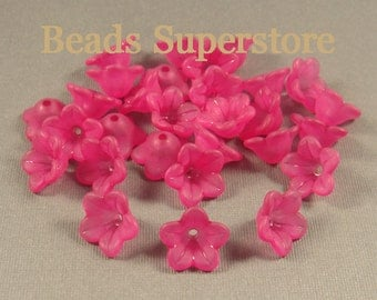 13 mm x 7 mm Magenta Lucite Flower Bead - 20 pcs