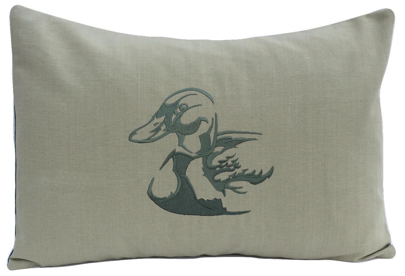Embroidered duck pillow mallard animal wildlife