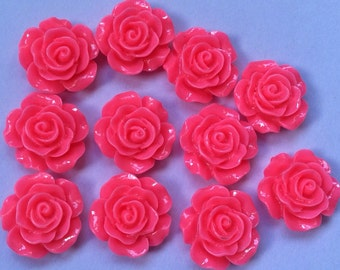 10 pcs 14 mm Bright Pink Cabochon Flower,Bright Pink resin flower,Hot Pink rose cabochon,14 mm Pink rose ,Pink cabochon flower,flower kit