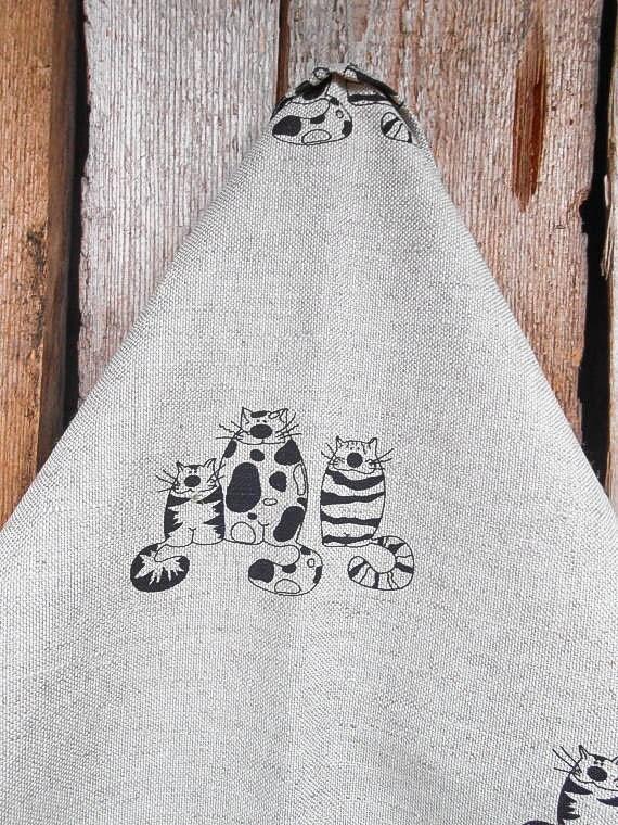 Cat Towel Kitten Towel Linen Tea Towel Hand By Vivicreative