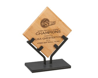Engraved 7 3/4 inch Bamboo plaque corporate award with iron stand free engraving