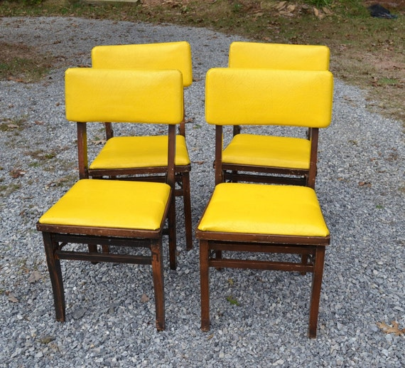 Vintage Louis Rastetter Wooden Folding Chairs Set Of 4 Solid