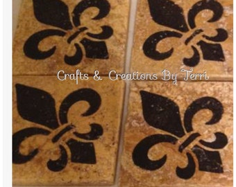 Fleur de lis Coasters - Tumbled Travertine Coasters - Fleur de lis - Gifts - Customizable - Wedding - Housewarming - Made To Order