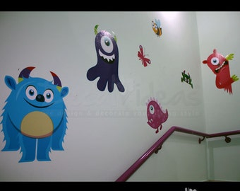 Monsters Wall Decal Sticker -  Printed Wall Decals - Nursery Stickers - Monster Decals - Nursery Monster Wall StickersETS50103
