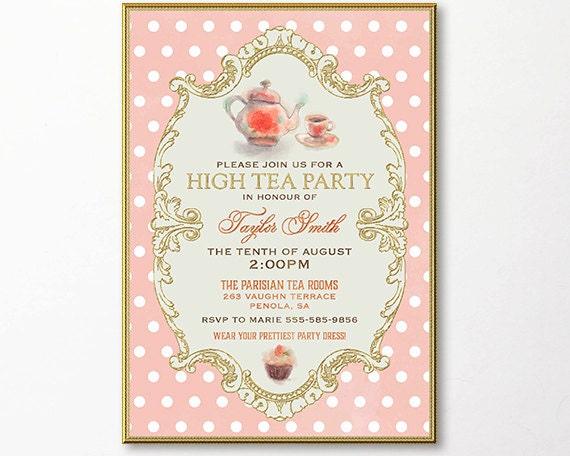 Tea party invitation high tea bridal shower tea digital email for Bridal shower email invitations