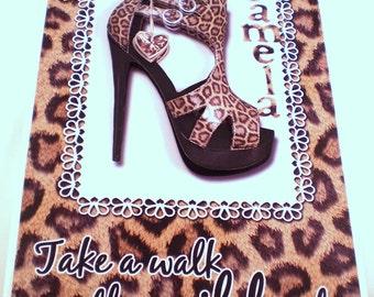 Handmade Hen Night,Weekend Greeting Card Leopard print shoes, Decoupage, Personalise