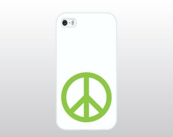 Minimalist iPhone 4/4S, 5/5S, 5C or 6/6 Plus Case - White with Lime Green Peace Sign - Boho Hippie Phone Case