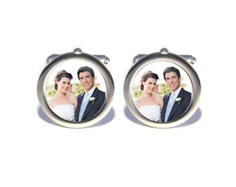 Mens Personalised Wedding Anniversary Wedding Day Custom Photograph Image Cufflinks - Personalised Engraved Gift Box Available