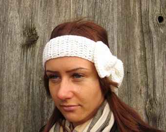 women headband Ready to ship white  Headband, Crochet Headband Bun Earwarmer Head Wrap Gray Hat Girly Romantic, white headband