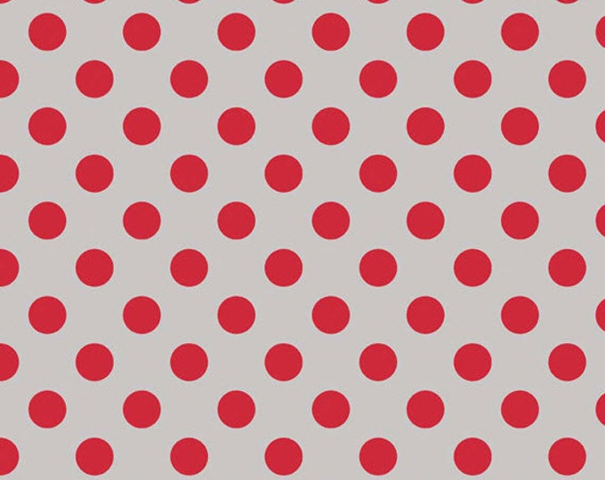 Fat Quarter Medium Dots - Tone on Tone in Gray and Red - Cotton Quilt Fabric - C430-14 - RBD Designers for Riley Blake Designs (W2499)