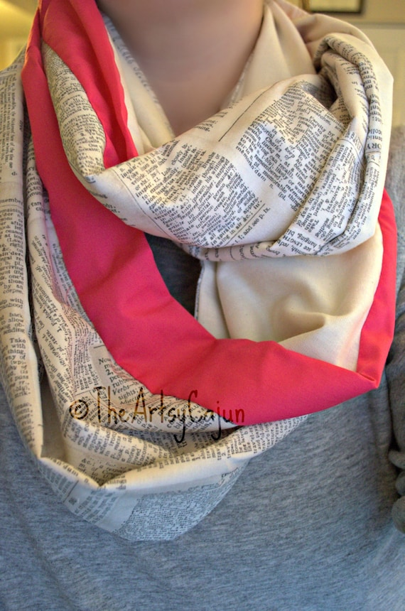 Dictionary Infinity Scarf with Pink Stripe! Only store to offer these!