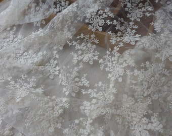 Ivory Lace Fabric, Cotton Embroidered Florals Fabric, Ivory Wedding Dress Lace Fabric By The Yard