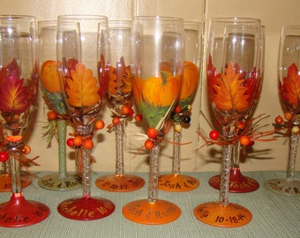 Fall Wedding Champagne Toasting Glass Glasses for the Bridal Party Pumpkins or Leaves