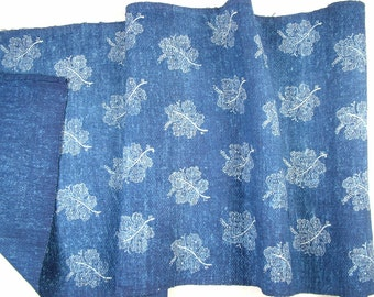 Indigo Blue Dyed Grape Leaf Linen Roll  Hungarian Vintage Grain Sack Fabric Whole piece 200cms -DLR1317