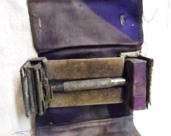 AUTO STROP Safety RaZOR- Auto Strop Valet- Old Purple Satin Case- Old Safety Shaving Razor- AutoStrop Shaving Razor- Cool Old Find!