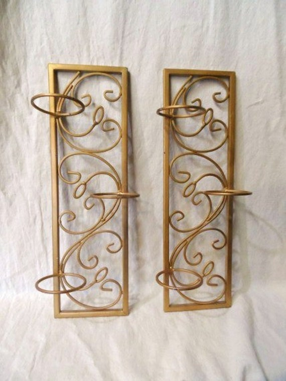 Gold Tone Candle Wall Sconces : Mid Century Modern Candle Sconces Candle Holders Vintage