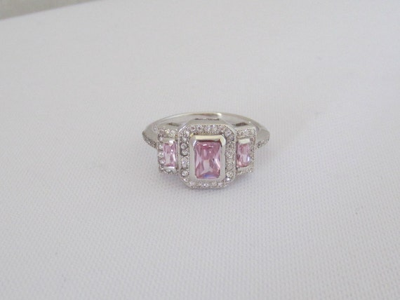 vintage sterling silver pink topaz cz three ring size