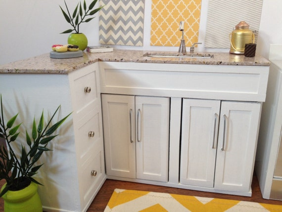 L Shaped Corner Kitchen Cabinets And Sink Dollhouse