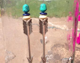 Tribal Turquoise & Arrows Dangle Earrings. Boho Earrings. Aztec Sterling Silver Arrow Earrings.