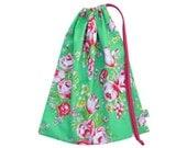 Library Bag. Large Drawstring Bag. Floral. Pink Roses. Toy Bag. Beauty Queen. Girls Bag. Preschool Bag. Jennifer Paganelli fabric. Flowers.