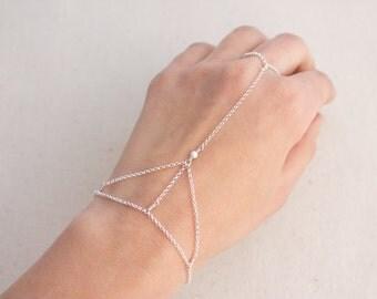Sterling Silver or Gold Filled Hand Chain Slave Bracelet