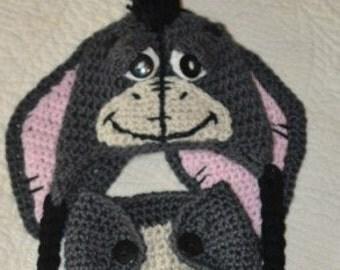Crochet Eeyore Hat and Diaper Cover