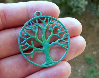 37 mm  Patina Pendant Hand Done Verdigris Patina Tree Of Life   , Christmas Gift  ,Patina Findings