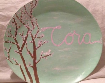 Hand Painted Children's Name Dish or Platter - Cora