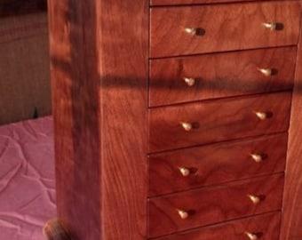 5 Drawer jewelry box with dark walnut