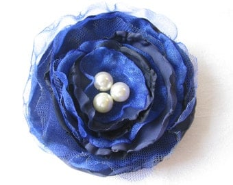Navy & Bright Blue Floral Brooch/Corsage with Pearl Bead Centre