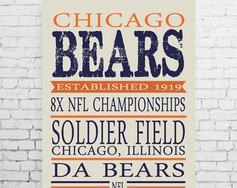 Chicago Bears Typography Poster