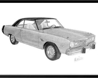 Car art pencil drawing of a 1973 Dodge Dart Swinger