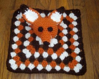 Crochet baby blanket Crochet Foxy Fox lovey blanket, Crochet Baby Blanket, Lap Blanket, Crochet lovey blankie