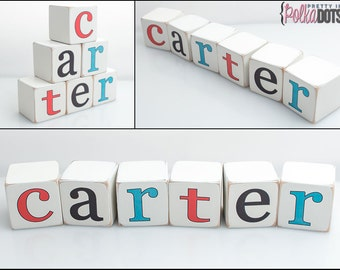 Personalized Wooden Name Baby Blocks - Letter Blocks - UV PRINTED - BASIC