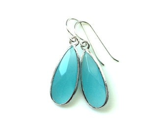 Aqua Chalcedony Aquamarine Glass Tear Drop silver Earrings, Turquoise Aqua earrings, Bridal Earrrings, Wedding Jewelry, Bridesmaids Gifts