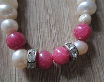 """Vintage Beaded Women Necklace Pink Cherry Quartz Freshwater Pearls Silver Plated Toogle Clasp Long 19.0"""""""