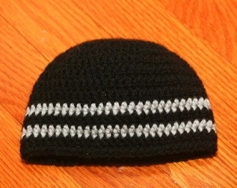 crochet newborn beanie black and grey