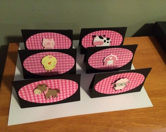 Treat Bag Toppers 12 girl Farm or Barnyard Animal