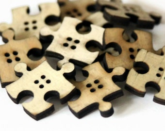9 Wooden Puzzle Buttons - 26mm x 26mm - Natural Wooden Shape - Wood Puzzle Pieces - Die Cut Out Shapes - MDF Craft Blanks - NW67