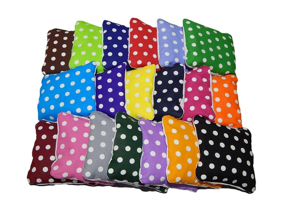 Wedding Cornhole Bags Small Polka Dots- Corn Filled - Build your own set - Set of 8 cornhole bags - Baggo bags - Cornhole bean bags