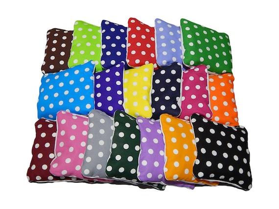 Wedding Cornhole Bags Small Polka Dots- Corn Filled - Build your own set - Set of 8 cornhole bags - Baggo bags - Cornhole bean bags