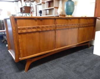Diamond Front Credenza in the Style of Adrian Pearsall Tiki Polynesian Dresser Mid Century Buffet Modern Sideboard Danish Storage
