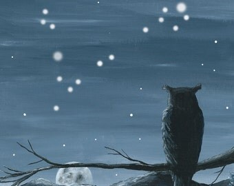 Owl watching the Moon and Stars - Pisces