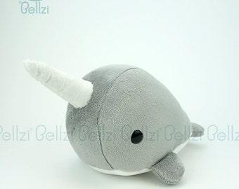 "Bellzi® Cute Narwhal Stuffed Animal Plush ""Gray"" w/ White Contrast - Narrzi - Made in USA"
