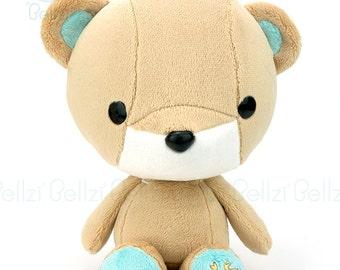 """Bellzi® Cute Bear Plush Stuffed Animal Toy Brown w/ """"Teal"""" Contrast Teddy Plushie - Teddi"""