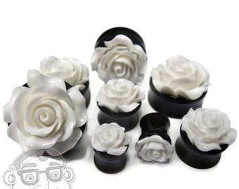 White Rosebud Black Plugs - Sizes / Gauges 0G - 1 Inch Sold In Pairs - NEW!