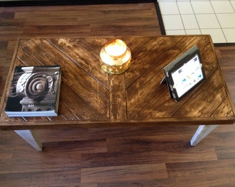 Reclaimed Wood Coffee Table | Coffee Table | Chevron Design